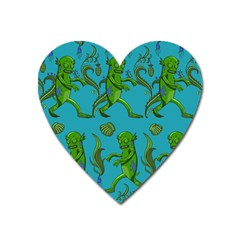 Swamp Monster Pattern Heart Magnet
