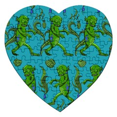 Swamp Monster Pattern Jigsaw Puzzle (heart) by BangZart