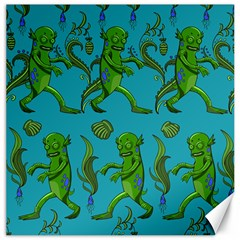 Swamp Monster Pattern Canvas 16  X 16   by BangZart