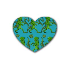 Swamp Monster Pattern Rubber Coaster (heart)  by BangZart