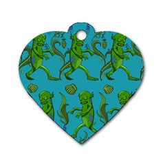 Swamp Monster Pattern Dog Tag Heart (one Side) by BangZart
