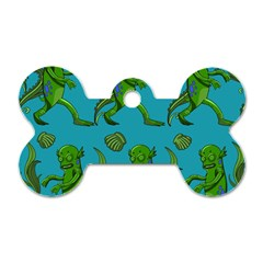 Swamp Monster Pattern Dog Tag Bone (one Side)