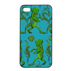 Swamp Monster Pattern Apple Iphone 4/4s Seamless Case (black)