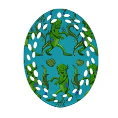 Swamp Monster Pattern Ornament (oval Filigree) by BangZart