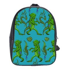 Swamp Monster Pattern School Bags (xl)  by BangZart