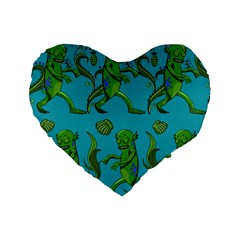 Swamp Monster Pattern Standard 16  Premium Heart Shape Cushions by BangZart