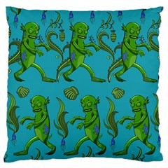 Swamp Monster Pattern Large Flano Cushion Case (two Sides) by BangZart