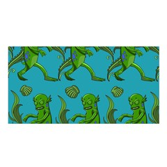 Swamp Monster Pattern Satin Shawl by BangZart