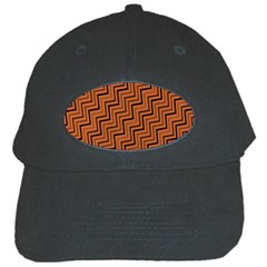 Brown Zig Zag Background Black Cap by BangZart