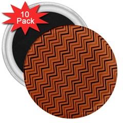 Brown Zig Zag Background 3  Magnets (10 Pack)
