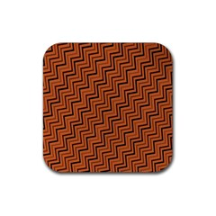 Brown Zig Zag Background Rubber Square Coaster (4 Pack)  by BangZart