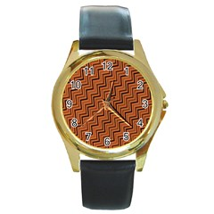 Brown Zig Zag Background Round Gold Metal Watch by BangZart