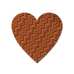 Brown Zig Zag Background Heart Magnet by BangZart