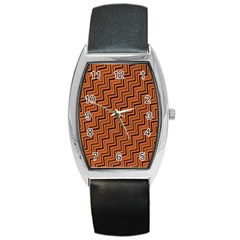 Brown Zig Zag Background Barrel Style Metal Watch by BangZart