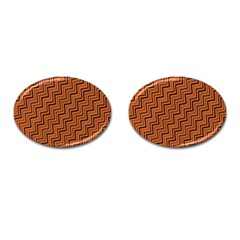 Brown Zig Zag Background Cufflinks (oval) by BangZart