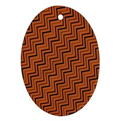 Brown Zig Zag Background Oval Ornament (two Sides) by BangZart