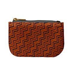 Brown Zig Zag Background Mini Coin Purses by BangZart