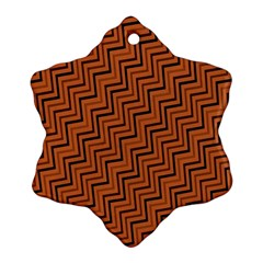 Brown Zig Zag Background Ornament (snowflake)