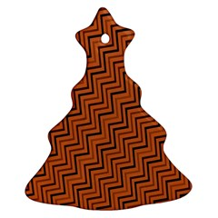 Brown Zig Zag Background Ornament (christmas Tree)  by BangZart