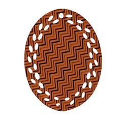 Brown Zig Zag Background Oval Filigree Ornament (two Sides) by BangZart