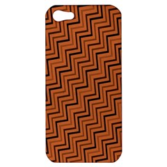 Brown Zig Zag Background Apple Iphone 5 Hardshell Case by BangZart