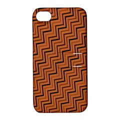 Brown Zig Zag Background Apple Iphone 4/4s Hardshell Case With Stand by BangZart