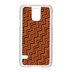 Brown Zig Zag Background Samsung Galaxy S5 Case (white) by BangZart
