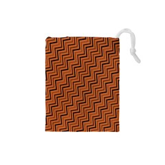 Brown Zig Zag Background Drawstring Pouches (small)  by BangZart