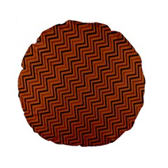 Brown Zig Zag Background Standard 15  Premium Flano Round Cushions by BangZart