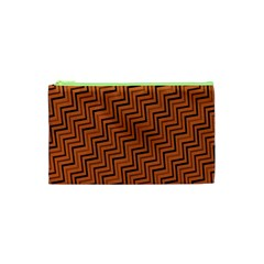 Brown Zig Zag Background Cosmetic Bag (xs) by BangZart