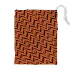 Brown Zig Zag Background Drawstring Pouches (extra Large)