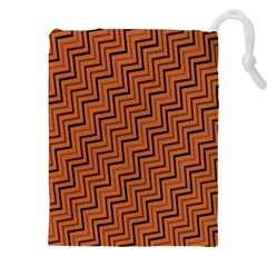 Brown Zig Zag Background Drawstring Pouches (xxl) by BangZart