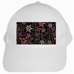 Flower Art Pattern White Cap by BangZart