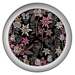 Flower Art Pattern Wall Clocks (silver)  by BangZart