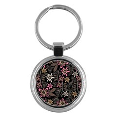 Flower Art Pattern Key Chains (round)  by BangZart