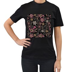 Flower Art Pattern Women s T Shirt (black) (two Sided)