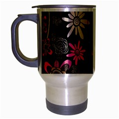 Flower Art Pattern Travel Mug (silver Gray) by BangZart