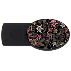 Flower Art Pattern Usb Flash Drive Oval (4 Gb)