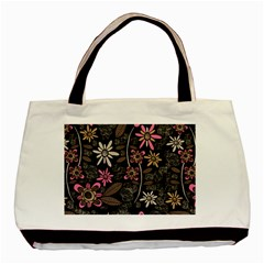 Flower Art Pattern Basic Tote Bag by BangZart