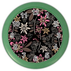 Flower Art Pattern Color Wall Clocks by BangZart