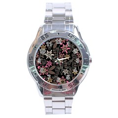 Flower Art Pattern Stainless Steel Analogue Watch by BangZart