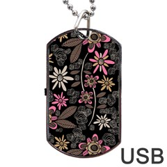 Flower Art Pattern Dog Tag Usb Flash (one Side) by BangZart