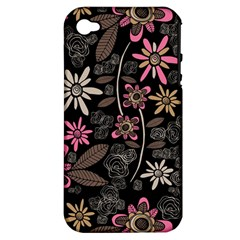 Flower Art Pattern Apple Iphone 4/4s Hardshell Case (pc+silicone)
