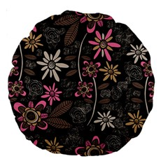 Flower Art Pattern Large 18  Premium Round Cushions by BangZart