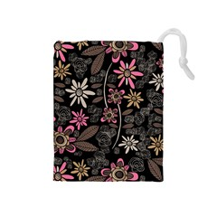 Flower Art Pattern Drawstring Pouches (medium)