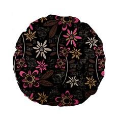 Flower Art Pattern Standard 15  Premium Flano Round Cushions by BangZart