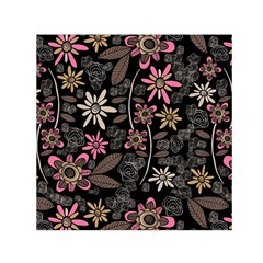 Flower Art Pattern Small Satin Scarf (square)