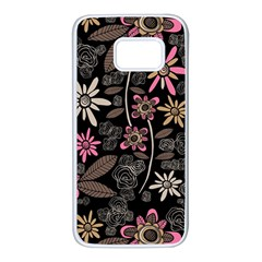 Flower Art Pattern Samsung Galaxy S7 White Seamless Case