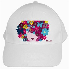 Beautiful Gothic Woman With Flowers And Butterflies Hair Clipart White Cap