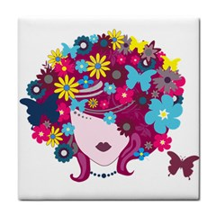 Beautiful Gothic Woman With Flowers And Butterflies Hair Clipart Tile Coasters
